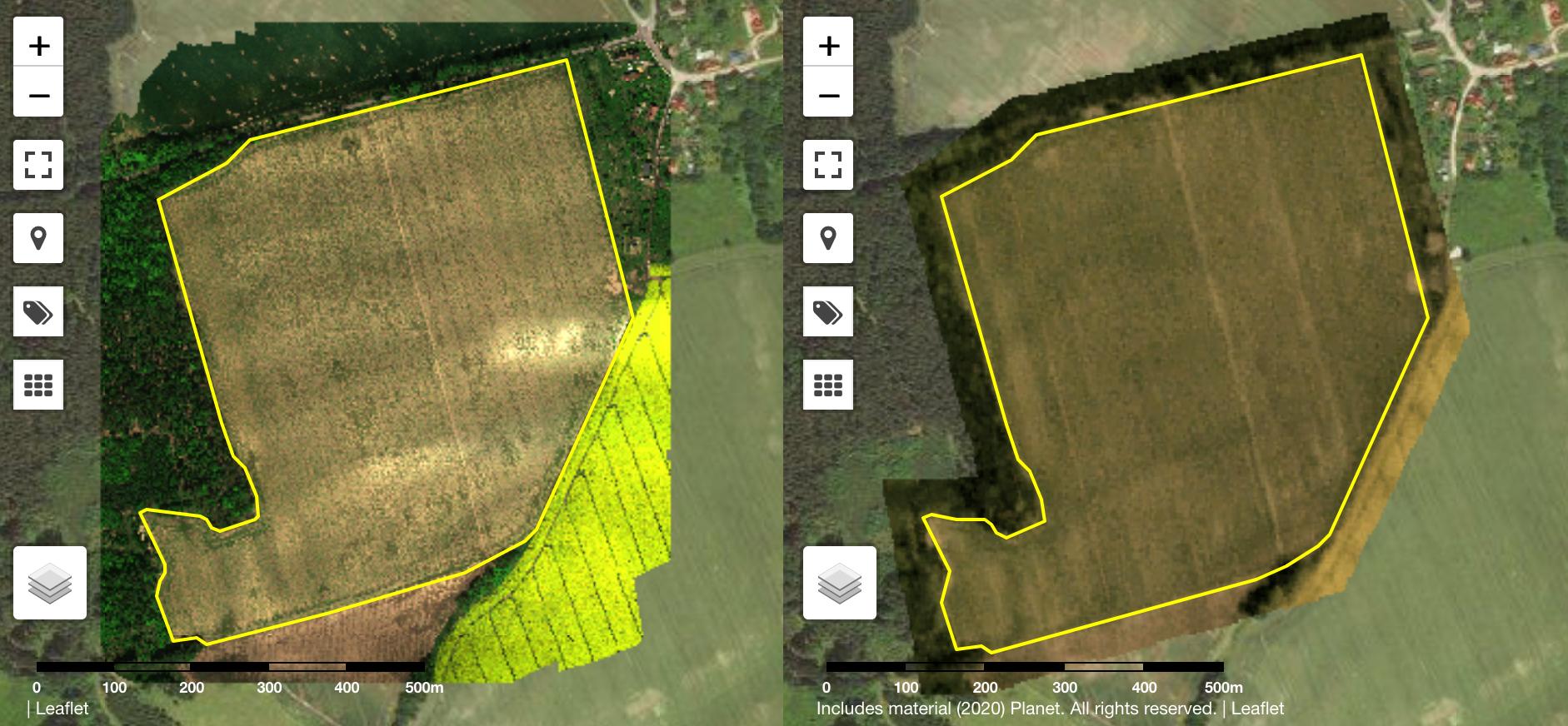 Comparación de las imágenes RGB recibidas de una cámara multiespectral a bordo de un drón y las imágenes recibidas de uno de los satélites Planet.